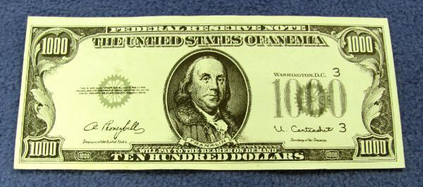 1000 Dollar Franklin Bill
