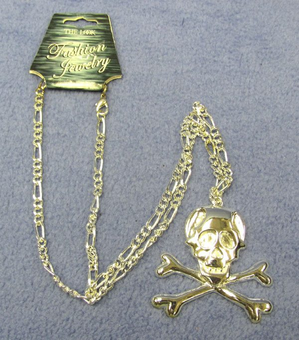 Metal Skull & Crossbones Necklace