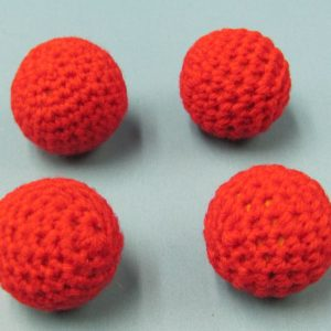 Set of 4 Red Handknit Balls 1 Inch (Canada)