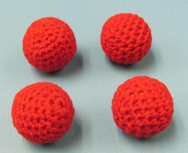 Set of 4 Red Handknit Balls 1 Inch (Canada)
