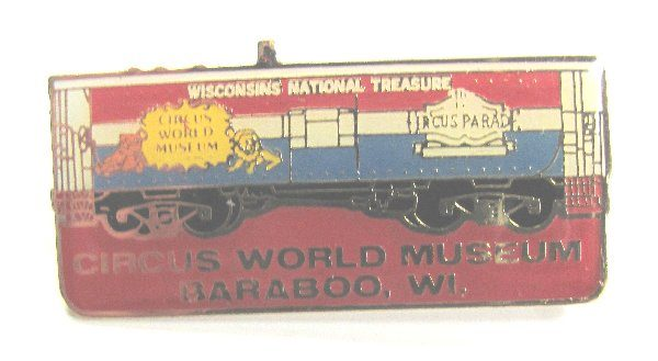 Circus World Museum Pin Back Badge Train Box Car Baraboo Wi
