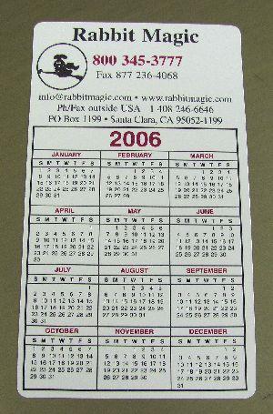 Rabbit Magic Magnetic Calendar