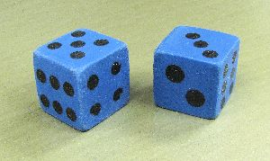Rubber Dice - Blue - Pair