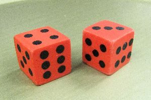 Rubber Dice - Red - Pair