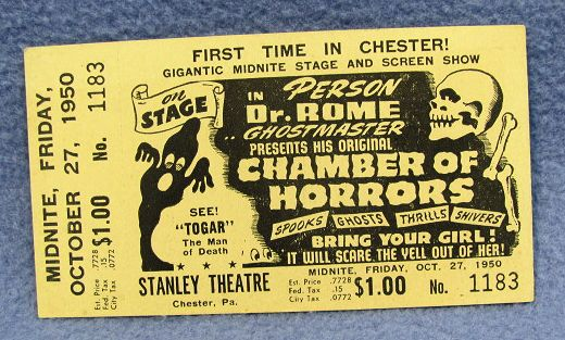 Dr. Rome Chamber of Horrors Stanley Theatre Ticket