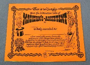 Magicians Assistant Certificate - Set of 20