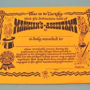 Magician's Assistasnt Certificate