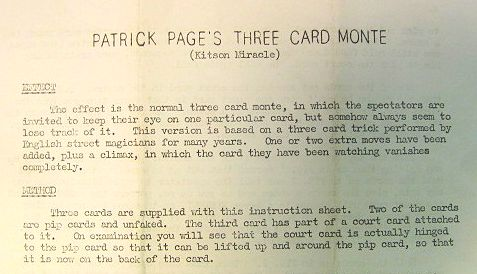 Patrick Page's Three Card Monte Instructions