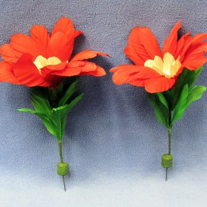 Large Red Bloom Feather Dart Flowers (Pair)