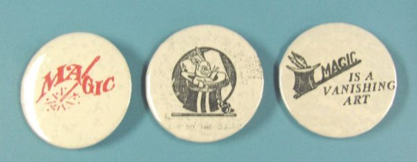 Lot of Three Different Magic Pin Back Buttons Lot 1