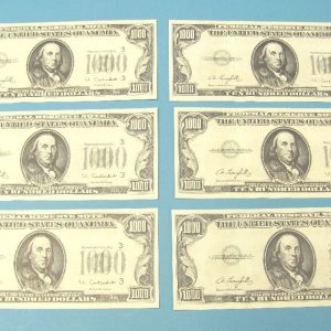 Thousand Dollar Bill - Franklin Lot of 6