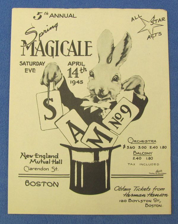 SAM 9 Ad Flyer For 5th Annual Spring Magicale in Boston 1945