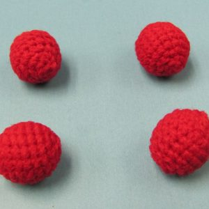 Set of 4 Red Handknit Balls .75 Inch (India)