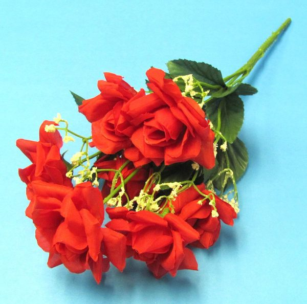 Artifical Plastic Red Roses Bouquet