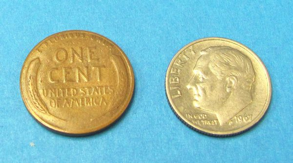 Dime and Penny (Vintage Wheat Cent)