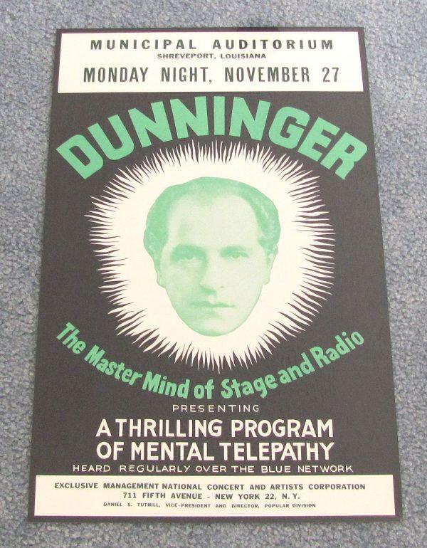 Dunninger Poster - Municipal Auditorium
