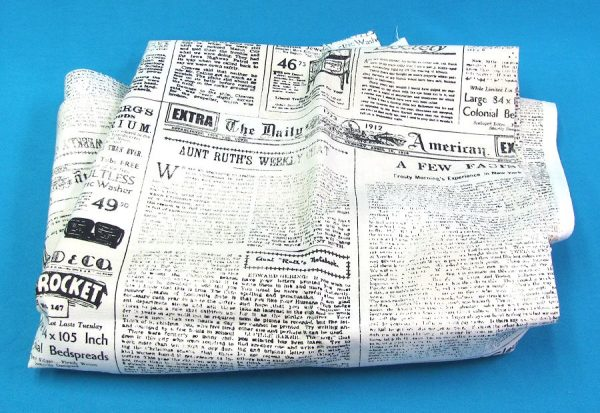Newspaper Print Fabric 36 x 43 inches