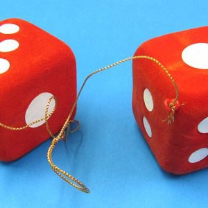 Pair of Flocked Hanging Dice (Red)