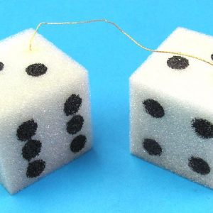 Pair of Hanging Foam Dice (Very Light Blue Green Color)